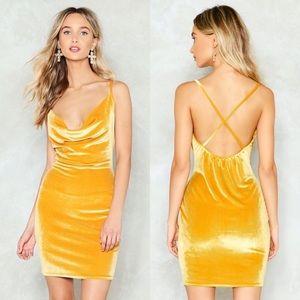 Nasty Gal Mustard Cowl Neck Velvet Mini Dress